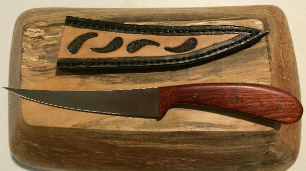824 - Fillet Knife with Leather Sheath SOLD