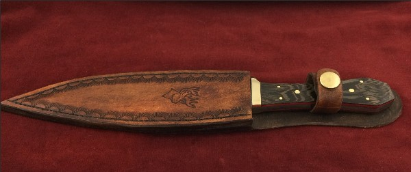 847 - Bowie Hunting knife with leather Sheath.
