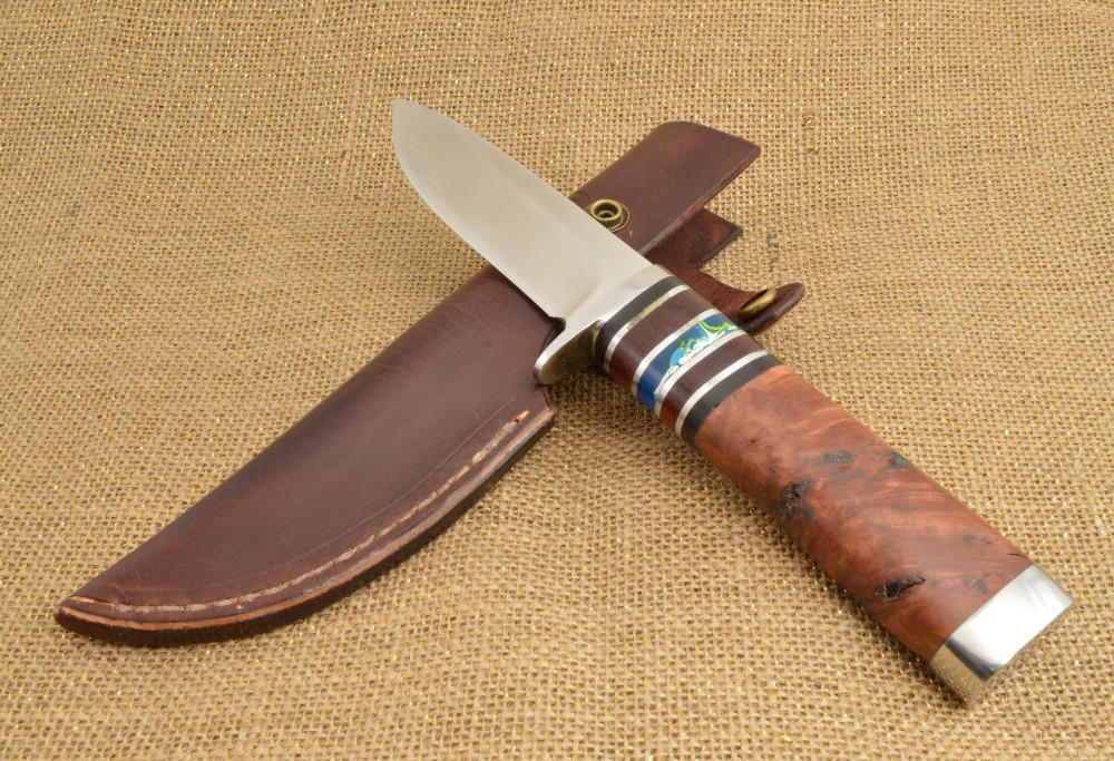 871 - Drop Point knife with leather sheath