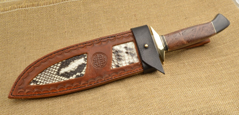 873 Python snake skin inlay sheath and bowie