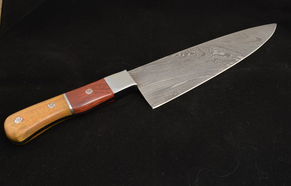 884 - Damascus chef knife - sold