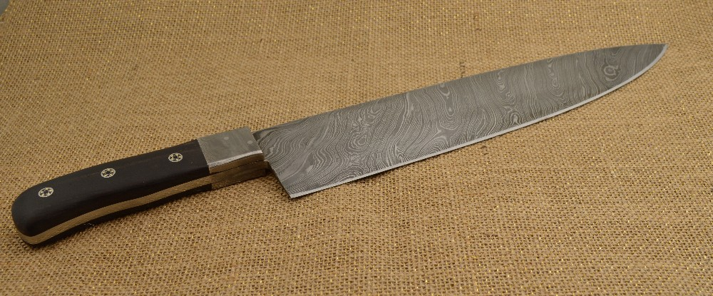 886 - Damascus Long blade chef knife