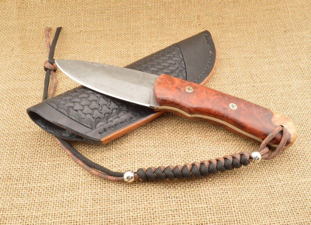 933 - Hunter knife with 2 tone leather sheath SOLD