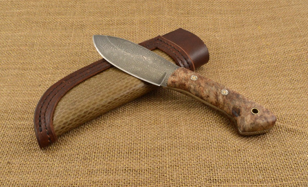 943 - Damascus hunter- snake skin and leather sheath